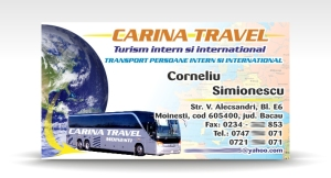 carte de vizita CARINA TRAVEL