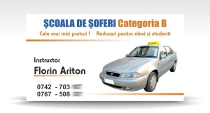 carte de vizita instructor auto
